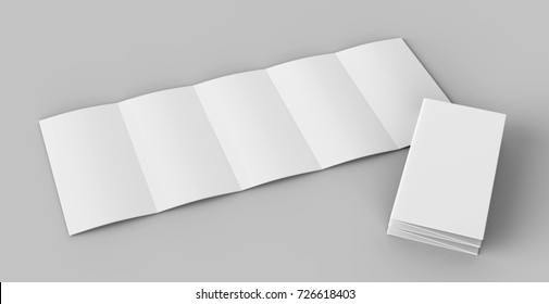 Accordion fold brochure, ten page leaflet, concertina fold. blank white 3d render illustration.