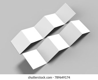 Accordion fold square brochure, ten page leaflet, concertina fold. blank white 3d render illustration.