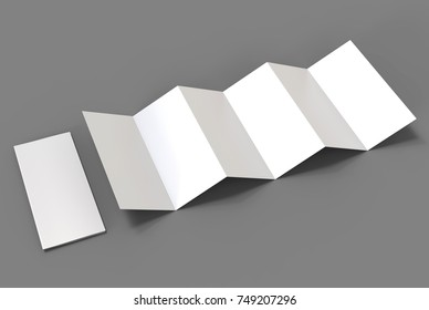 Accordion fold vertical brochure, twelve page leaflet or brochure mockup, concertina fold. blank white 3d render illustration.