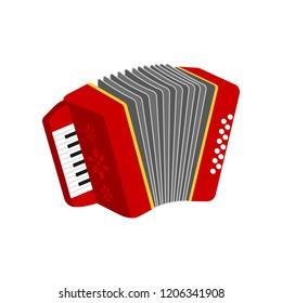 Accordion icon. Traditional harmonic instrument. Music equipment.