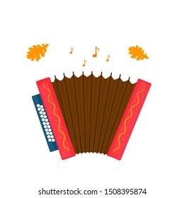 Accordion isolated on white background. Oktoberfest Musical instrument  icon.