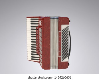 Accordion on a white (grey) background. 3d illustration