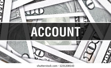 Account Closeup Concept. American Dollars Cash Money,3D rendering. Account at Dollar Banknote. Financial USA money banknote Commercial money investment profit concept