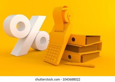 Accountancy background with percent symbol in orange color. 3d illustration