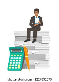Accountant in business suit sits on stack of papers. Tax payment calculation concept. Accounting documents with calculator and pen. Flat illustration. Financial statements metaphor