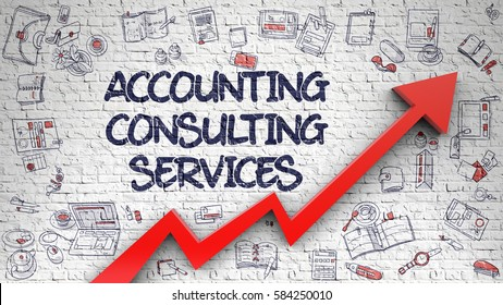Accounting Consulting Services - Success Concept. Inscription on Brick Wall with Hand Drawn Icons Around. Accounting Consulting Services - Line Style Illustration with Doodle Elements.