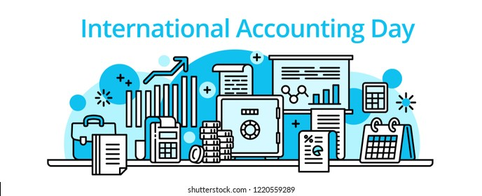 Accounting day banner. Outline illustration of accounting day banner for web design