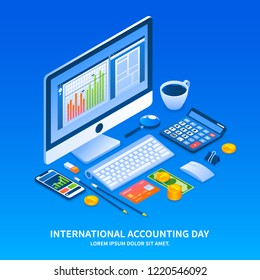 Accounting day holiday concept background. Isometric illustration of accounting day holiday concept background for web design
