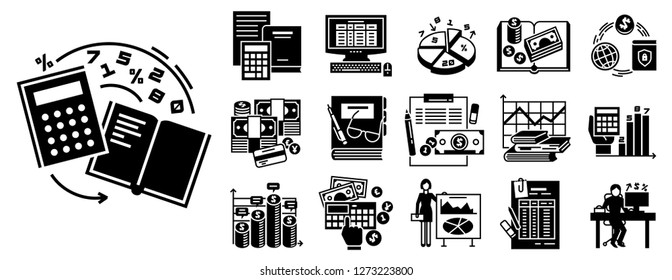 Accounting day icon set. Simple set of accounting day icons for web design on white background
