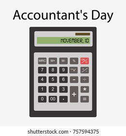 Accounting Day. November 10.  illustration for you design, card, banner, poster and calendar