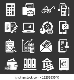 Accounting international day icon set. Simple set of accounting international day icons for web design on gray background