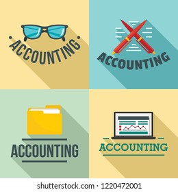 Accounting international day logo set. Flat illustration of accounting international day logo set for web design