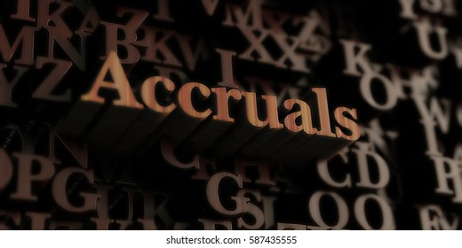 accruals - Wooden 3D rendered letters/message.  Can be used for an online banner ad or a print postcard.