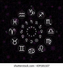 accurate horoscope illustration, hand drawing of the zodiac wheel with ancient ruling planet symbols on dark whimsical starry background