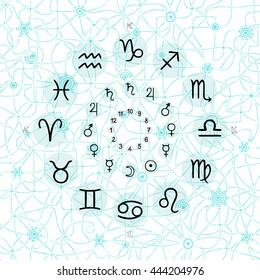 accurate horoscope illustration, hand drawing of the zodiac wheel with ancient ruling planet symbols on light whimsical starry background