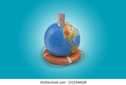 Ace Bandage on planet earth with life vest to symbolize a healthy world and general health issues. High resolution image with copy space for all your crop needs. 3D rendering.