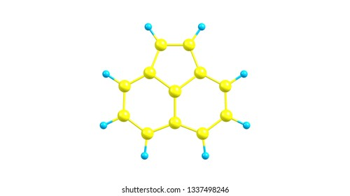 Acenaphthylene is a polycyclic aromatic hydrocarbon. The molecule resembles naphthalene. It occurs in coal tar. 3d illustration