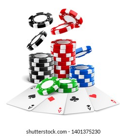 Aces lying near realistic casino chips or playing cards of different suits and stack of falling gambling 3d tokens for blackjack or sport poker. Gaming and gamble, luck and winning theme