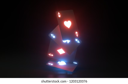 Aces Playing Cards With Glowing Neon Lights- 3D Illustration