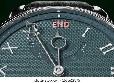 Achieve End, come close to End or make it nearer or reach sooner - a watch symbolizing short time between now and End., 3d illustration