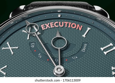 Achieve Execution, come close to Execution or make it nearer or reach sooner - a watch symbolizing short time between now and Execution., 3d illustration