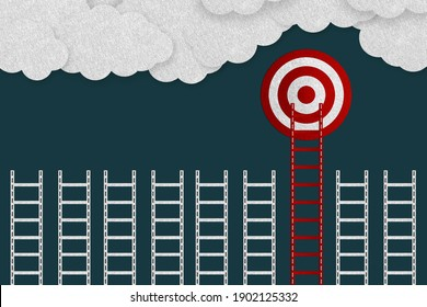 Achieve Goals Concept - Realistic Felt 3D Illustration With Target, Ladders And Clouds - Isolated On Dark Background