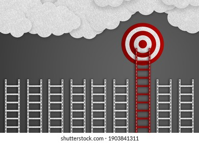 Achieve Goals Concept - Realistic Felt 3D Illustration With Target, Ladders And Clouds - Isolated On Gray Gradient Background