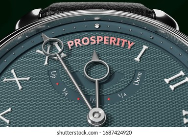 Achieve Prosperity, come close to Prosperity or make it nearer or reach sooner - a watch symbolizing short time between now and Prosperity., 3d illustration
