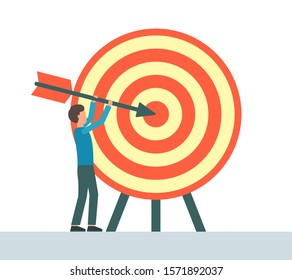 Achievement goal concept. The man hits the target with an arrow. Flat design.