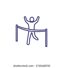 Achieving goals line icon. Man finishing race with raised hands. Winning concept. Can be used for topics like business success leadership, sport, competition