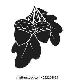 Acorns icon in black style isolated on white background. Canadian Thanksgiving Day symbol stock bitmap illustration.