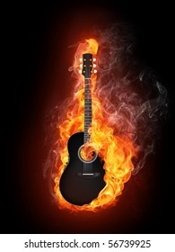 Acoustic - Electric Guitar in Fire Flame Isolated on Black Background