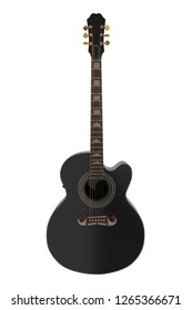 Acoustic Guitar 3d illustration isolated on white