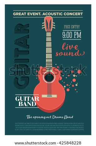 acoustic guitar concert flyer template retroのイラスト素材 425848228