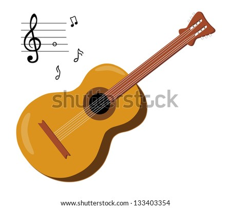 Acoustic Guitar Musical Notes Isolated On Stock Illustration