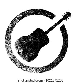 Acoustic guitar as as rubber ink stamp in black, isolated over a white background.