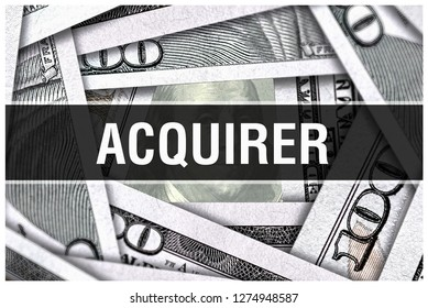Acquirer Closeup Concept. American Dollars Cash Money,3D rendering. Acquirer at Dollar Banknote. Financial USA money banknote Commercial money investment profit concept