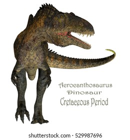 Acrocanthosaurus Dinosaur with Font 3D Illustration - Acrocanthosaurus was a carnivorous theropod dinosaur that lived in North America during the Cretaceous Period.