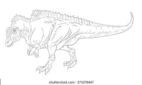 Acrocanthosaurus line drawing for coloring books.