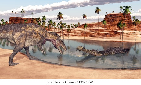 Acrocanthosaurus and Sarcosuchus Computer generated 3D illustration