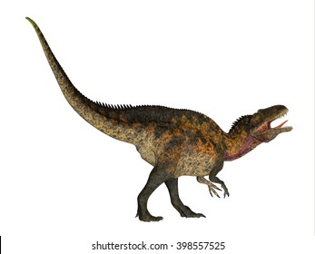 Acrocanthosaurus Side Profile 3D illustration - Acrocanthosaurus was a theropod carnivorous dinosaur that lived in North America during the Cretaceous Period.