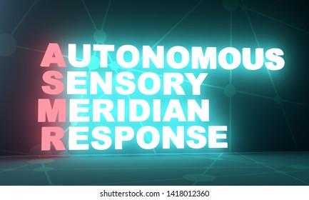 Acronym ASMR - Autonomous Sensory Meridian Response. Health care conceptual image. Neon bulb illumination. 3D rendering