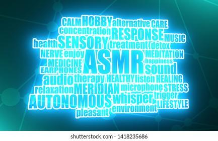 Acronym ASMR - Autonomous Sensory Meridian Response. Health care conceptual image. Connected lines with dots. Words cloud. Neon bulb illumination. 3D rendering
