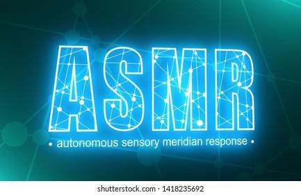 Acronym ASMR - Autonomous Sensory Meridian Response. Health care conceptual image. Connected lines with dots. Neon bulb illumination. 3D rendering