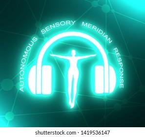 Acronym ASMR - Autonomous Sensory Meridian Response. Health care conceptual image. Woman silhouette. Neon bulb illumination. 3D rendering