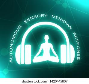 Acronym ASMR - Autonomous Sensory Meridian Response. Health care conceptual image. Woman silhouette in lotus position. Neon bulb illumination. 3D rendering