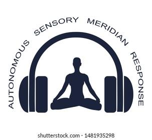 Acronym ASMR - Autonomous Sensory Meridian Response. Health care conceptual image. Woman silhouette in lotus position