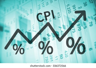 Acronym CPI on up trend arrow, with financial data visible on the background.