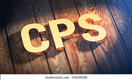 "The acronym ""CPS"" is lined with gold letters on wooden planks. 3D illustration image"