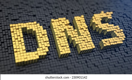 Acronym 'DNS' of the yellow square pixels on a black matrix background. Internet routing concept.